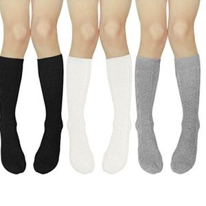 Other - 3 Pairs Girls Cotton Over Calf Knee High Socks M